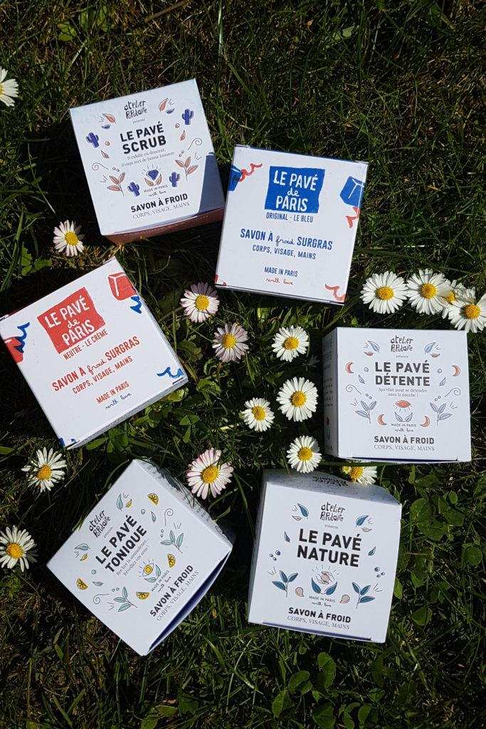 les différents modèles de savon à froid bio d'Atelier populaire Cosmétique bio Paris - pranaloé boutique de cosmétiques bio en ligne